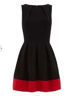 Black Red Boat Neck Sleeveless Back Zipper Dress