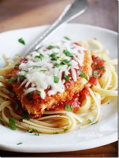 Baked Chicken Parmesan Easy Dinner Recipe- I used Olive Oil Spray instead of butter and thin cutlets.  Cooked Chicken about 15 mins before topping.