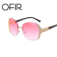 #FASHION #NEW OFIR 2018 Rimless Sunglasses Hipster Lady Sun Glasses Metallic Frame Lnlay Diamond Luxury Designer Beautiful Eyewear UV400