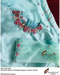 No photo description available. Embroidery On Kurtis, Hand Embroidery Dress, Kurti Embroidery Design, Embroidery On Clothes, Embroidery Fashion, Sleeves Designs For Dresses, Dress Neck Designs, Fancy Blouse Designs, Bridal Blouse Designs