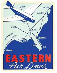 Eastern Airlines Route Map Vintage-Style 50's Travel Decal-Sticker-Luggage Label
