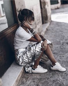 Silver Pleat Skirt, White Tee & Trainers - Image Via Pinterest \ Just. Wear. Trainers | Spring/ Summer Fashion | Street Style | Fashion | Footwear | Sneakers | Pumps