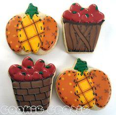bastket of apples and patchwork pumpkins cookies