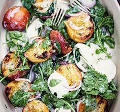 grilled peach salad with buffalo mozzarella and arugula : www.jodyhorton.com