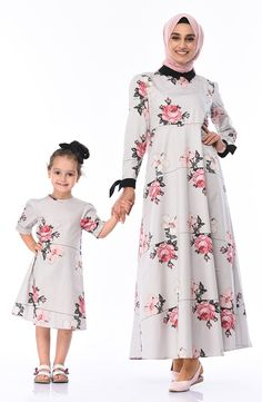 Mother & Daughter Combined Dress Grey Fabric, Woven Fabric, Good Night Sweet Dreams, Fabric Patterns, Daughter, Long Sleeve, Model, Sleeves, Cotton
