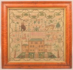 Lot: Helen Samson Needlework Sampler Dated 1828., Lot Number: 0405, Starting Bid: $7,500, Auctioneer: Conestoga Auction Company Division of Hess Auction Group, Auction: ANTIQUE & AMERICANA AUCTION, Date: March 18th, 2017 CET