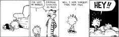 Calvin can\'t find his marbles