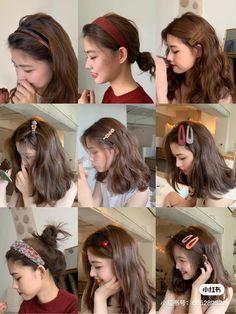 Kawaii Hairstyles, Pretty Hairstyles, Medium Hair Styles, Curly Hair Styles, Korean Hair Color, Haircuts Straight Hair, Hair Color Streaks, Shot Hair Styles, Hair Arrange