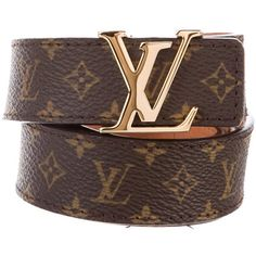Pre-owned Louis Vuitton Monogram Initiales Belt ($445) ❤ liked on Polyvore featuring accessories, belts, brown, brown belt, louis vuitton, monogram belt, logo belts and louis vuitton belt