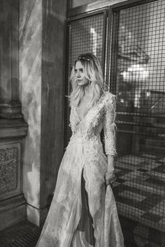 Victoria KyriaKides Bridal Collection. Model in the Charlize Dress available at Saks 5th Ave NYC and Beverly Hills. #WeddingDress