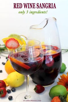 What's better than a refreshing cocktail for your Memorial Day BBQ? An easy and delicious one! Our easy sangria has only 3 ingredients and can be ready in a matter of minutes. Combine inexpensive red wine, lemon-lime soda & sliced fruit, like oranges, lemons, limes and berries, and go. It may just become your new favorite go-to summer cocktail. #cocktail #summer #easy #recipe #wine #red #foracrowd #simple via @2CookinMamas Fall Sangria, Berry Sangria, Sangria Wine, Peach Sangria, Moscato Sangria, Apple Sangria, White Sangria, Best Sangria Recipe, Red Sangria Recipes