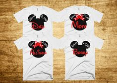 Disney Mickey and Minnie Family Vacation T-shirts Customized with Name ***Please Select Number Of Shirts Needed In the Quantity Area Of Your Shopping Cart*** All Of Our Shirts Are: •100% fine jersey c