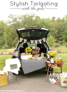 STYLISH TAILGATING WITH THE GIRLS! Set up a fun football party for game day with these chic party ideas. Deck out your ride with black and white decorations, and a diy pennant, plus a champagne bar!