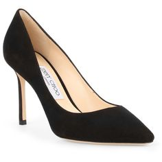 Romy 85 Black Suede Pumps (2.245 RON) ❤ liked on Polyvore featuring shoes, pumps, black, suede pointed toe pumps, jimmy choo shoes, suede shoes, high heel pumps and pointy-toe pumps