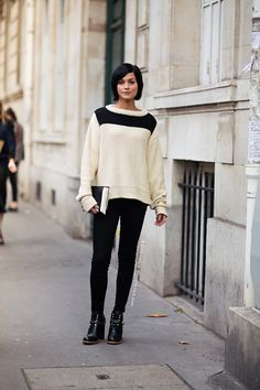 black and white sweater, black clutch, black booties
