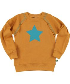 Molo super rough orange sweat with big turquoise star. molo.en.emilea.be