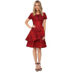 NUE by Shani Jacquard Dress with Tiered-Fit and Flare Skirt (Red)... ($253) ❤ liked on Polyvore featuring dresses, straight dress, red fit and flare dress, short sleeve dress, red print dress and red short sleeve dress