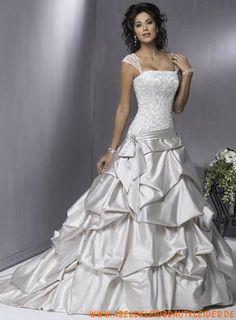 A-linie Luxuriöse Glamouröse Brautkleider aus Taft mit Schleppe