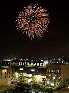 Fireworks over the River Market, in downtown Little Rock, Arkansas