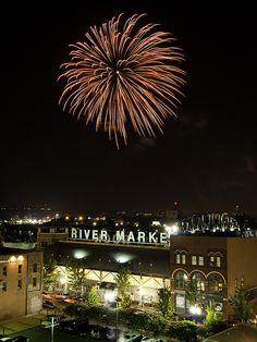 Fireworks over the River Market, in downtown Little Rock, Arkansas