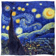 "Van Gogh Gift Ideas - 100% Luxury Square Silk Scarf - Van Gogh ""Starry Night"" - Bluehttp://www.dahliajewels.com/100-luxurious-charmeuse-silk-van-goghs-starry-night-square-scarf-shawl/p-SF0182SKW-BL.html"