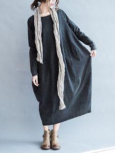 Vintage Women Solid Color Long Sleeve O-Neck Pocket Baggy Dress