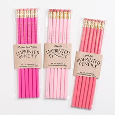 Pink and gold pencils. Back to school supplies. Gold pencils. Gold foiled pencils. Cute pencils. Funny pencil set. Gifts for her.