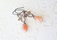 Artisan sunstone dew drop S shape earrings by CultivatedDreams, $19.00