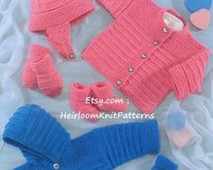 Adorable Baby Boy Girl Cable and Lace Cardigans Hat Mitts Knitting Wool, Knitting For Kids, Baby Knitting Patterns, Baby Patterns, Bernat Baby Sport Yarn, Layette Pattern, Knit Edge, Newborn Baby Dolls, I Love This Yarn