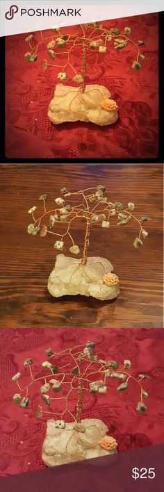 Unikite on Rose Quartz Gemstone Tree This Chrion Gemstone Tree is made of unikite chips on non-tarnish copper wire with a base of rose quartz and a small decorative flower on the root area. It is 100% handmade and 100% made to last! Merry Christmas my posh family and always, Happy Poshing! Chrion Jewels and Gems Other