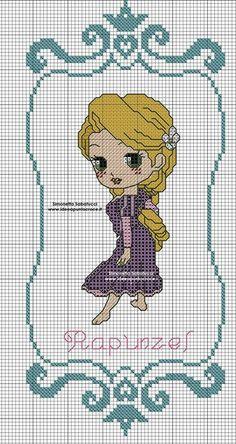 Rapunzel em ponto de cruz