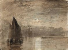 Joseph Mallord William Turner (1775‑1851) Title Moonlight on the Medway From Liber Studiorum 1807-1819 Watercolours Date c.1824 Medium Water...