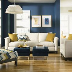 Modern Decor Design, Pictures, Remodel, Decor and Ideas - page 7 (bedroom colors) Mustard Living Rooms, Navy Living Rooms, New Living Room, Living Room Sofa, Cream Sofa Living Room Color Schemes, Cozy Living, Small Living, Living Room Decor Blue, Modern Living Room Colors