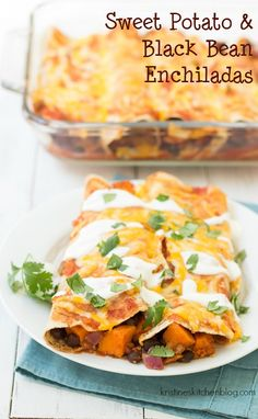 You will love this vegetarian take on enchiladas! These Sweet Potato and Black B… You will love this vegetarian take on enchiladas! These Sweet Potato and Black Bean Enchiladas are a spicy, cheesy, and filling meatless main dish! Vegetable Enchiladas, Vegetarian Enchiladas, Vegetarian Main Dishes, Vegetarian Recipes, Vegetarian Sweets, Veggie Main Dishes, Healthy Dinner Recipes, Mexican Food Recipes, Healthy Meals