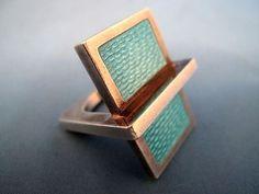 Pekka Piekainen ~vintage modernist ring in sterling silver and guilloche enamel.