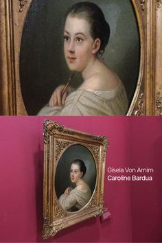 Portrait painting of Gisela Von Arnim by German Painter Caroline Bardua at the Frankfurt Goethe Museum