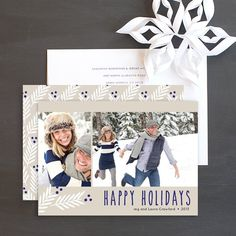 Modern Leaves Holiday Photo Cards by Emily Crawford   Elli