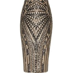 River Island Gold geo sequin midi pencil skirt ($110) ❤ liked on Polyvore featuring skirts, gold, midi skirts, women, brown skirt, high-waist skirt, gold skirt, sequin midi skirts and gold midi skirt