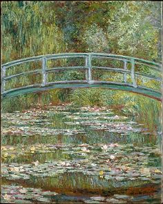 Bridge over a Pond of Water Lilies, by Claude Monet, French impressionist oil painting. In the summer of 1899 Monet completed 12 canvases of the wooden footbridge over the lily pond at Giverny , Claude Monet, Monet Paintings, Landscape Paintings, Famous Art Paintings, Famous Artwork, French Paintings, European Paintings, French Artwork, Famous Art Pieces