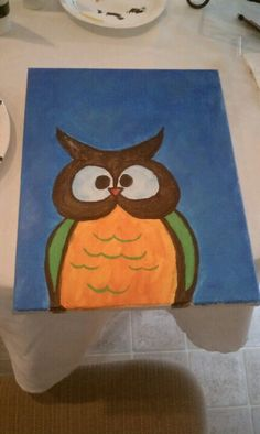 Baby owl canvas painting