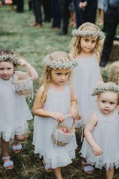 The sweetest #flowergirls in #babiesbreath crowns | Rustic farm wedding by I Got You Babe