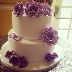Cadburys purple rose 2 tier wedding cake