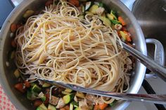 Add semi-cooked noodles to stir fry