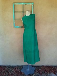 Vintage 1960s Dress Green Silk 60s Long Wiggle by bycinbyhand