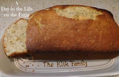 A Day in the Life on the Farm: Almond Poppyseed Bread Bread Machine Recipes, Quick Bread, Naan, Sweet Bread, Cops, Banana Bread, Biscuits, Almond, Peace