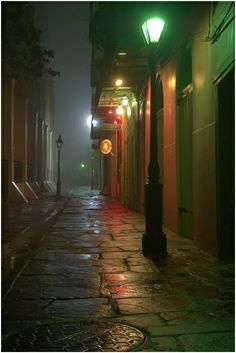Pirates Alley, from a corner of Cabildo Alley toward Chartres Street, with a south-west side of Saint Louis Cathedral on the left in French Quarter at early morning in mist. New Orleans, Louisiana, February 2006 Photo by Alexey Sergeev Nova Orleans, New Orleans Louisiana, New Orleans Art, Oh The Places You'll Go, Places To Travel, Places To Visit, St Louis Cathedral, Neon Licht, New Orleans Travel