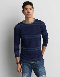AEO Long Sleeve Indigo T-Shirt, Dark Blue | American Eagle Outfitters
