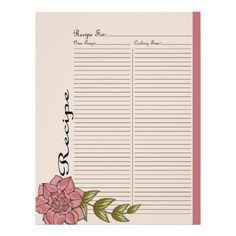 Alternate Recipe Page Design for Pink Rose Recipe Binder - 2 #binderpage #specialtybinderpage #recipe #recipebook #recipebinder #retro #rose #recipepage #pink
