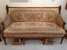 #Sofa in wooden #molded and #polished #wood. Rectangular flat backrest. The armrests are extended by curved volutes topped with apple decor. Seven tapered and banded legs decorated with candlelights at the end. #Stamped G+JACOB  #Georges #JACOB, Master cabinet-maker, September 4, #1765. For sale on Proantic by Galerie Domenico Casciello.