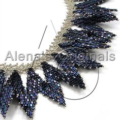 SPELLBOUND Necklace. Seed Bead, Collar, Woven, Silver Plated, Blue, Chevron, Wings, Adjustable, Dramatic, Nancy Morris